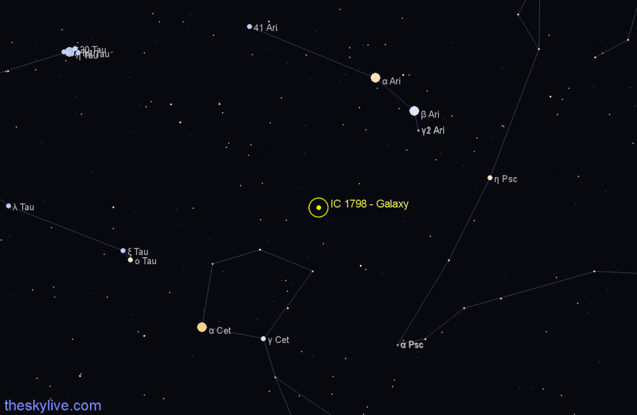 Finder chart IC 1798 - Galaxy in Aries star