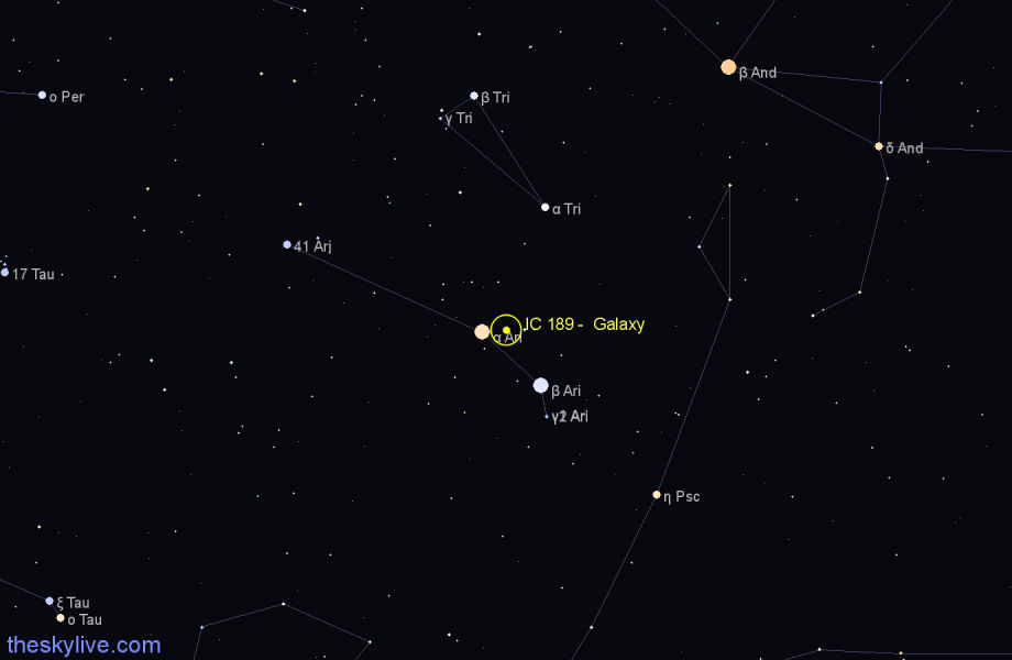 Finder chart IC 189 -  Galaxy in Aries star