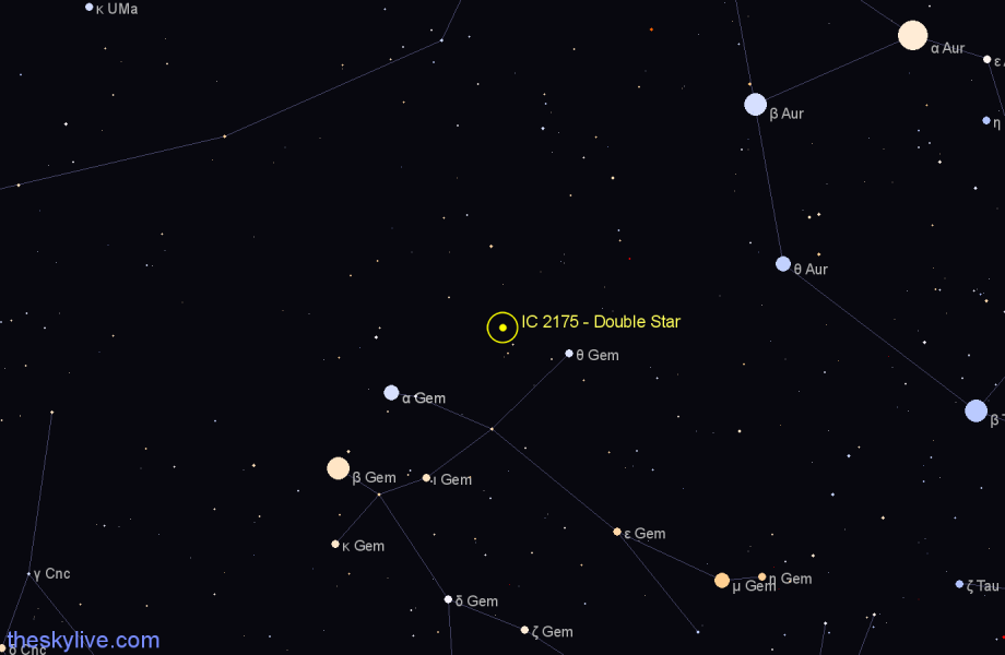 Finder chart IC 2175 - Double Star in Gemini star