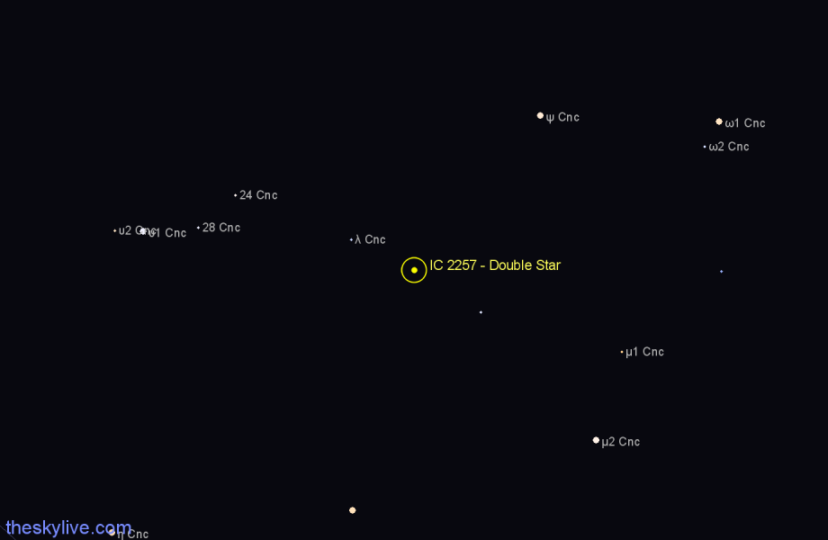 Finder chart IC 2257 - Double Star in Cancer star