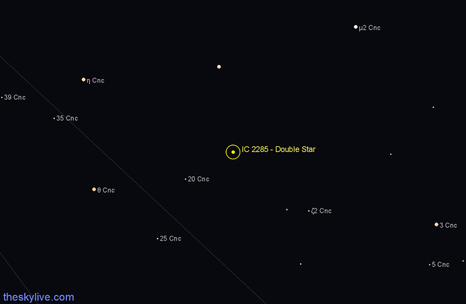 Finder chart IC 2285 - Double Star in Cancer star