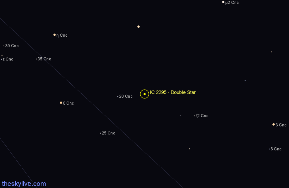 Finder chart IC 2295 - Double Star in Cancer star