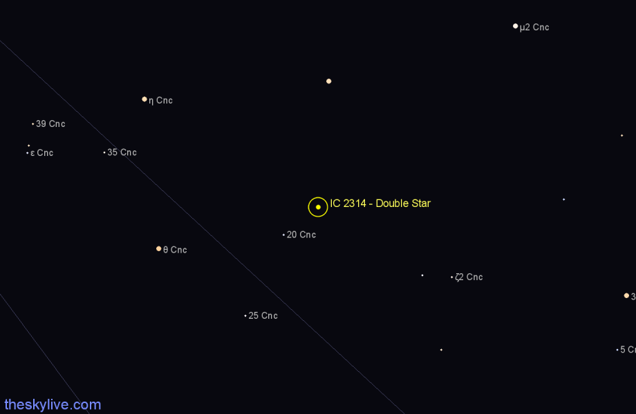 Finder chart IC 2314 - Double Star in Cancer star