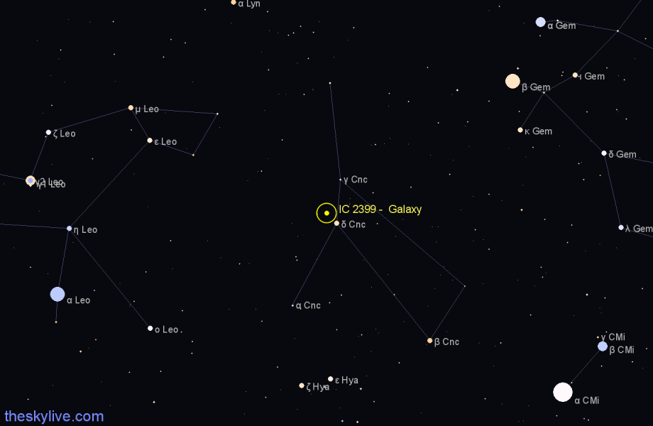 Finder chart IC 2399 -  Galaxy in Cancer star