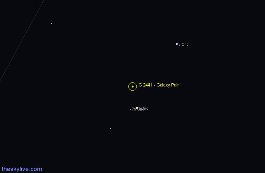 Finder chart IC 2441 - Galaxy Pair in Cancer star