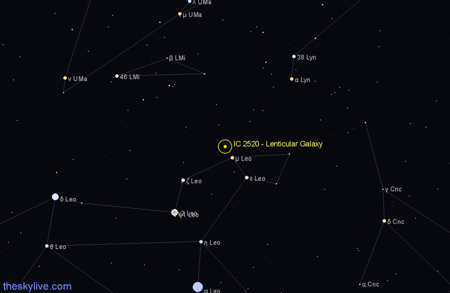 Finder chart IC 2520 - Lenticular Galaxy in Leo star