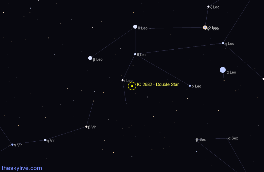 Finder chart IC 2682 - Double Star in Leo star
