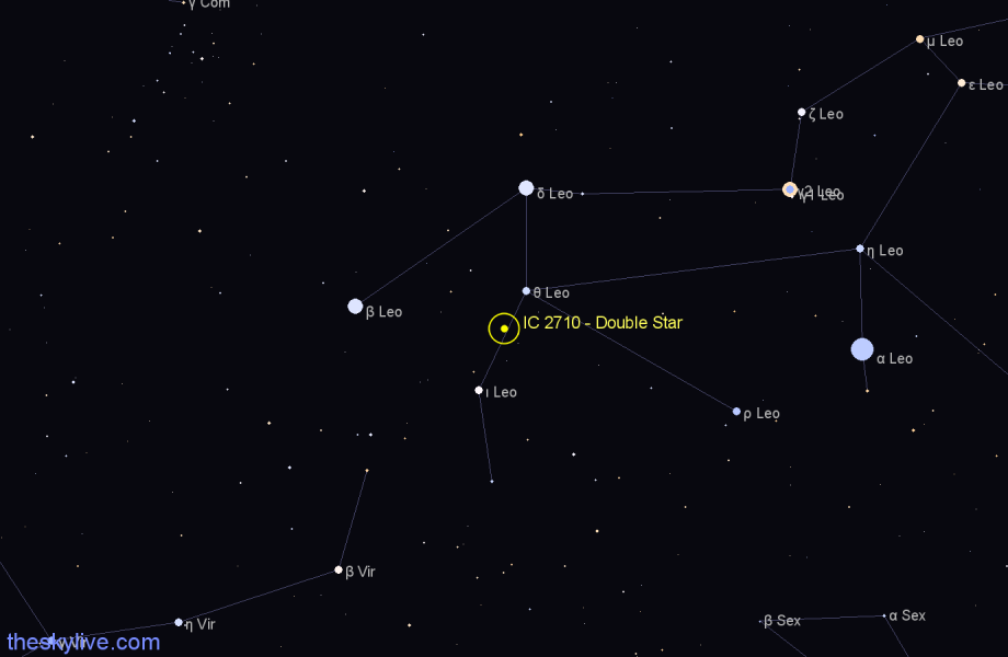 Finder chart IC 2710 - Double Star in Leo star