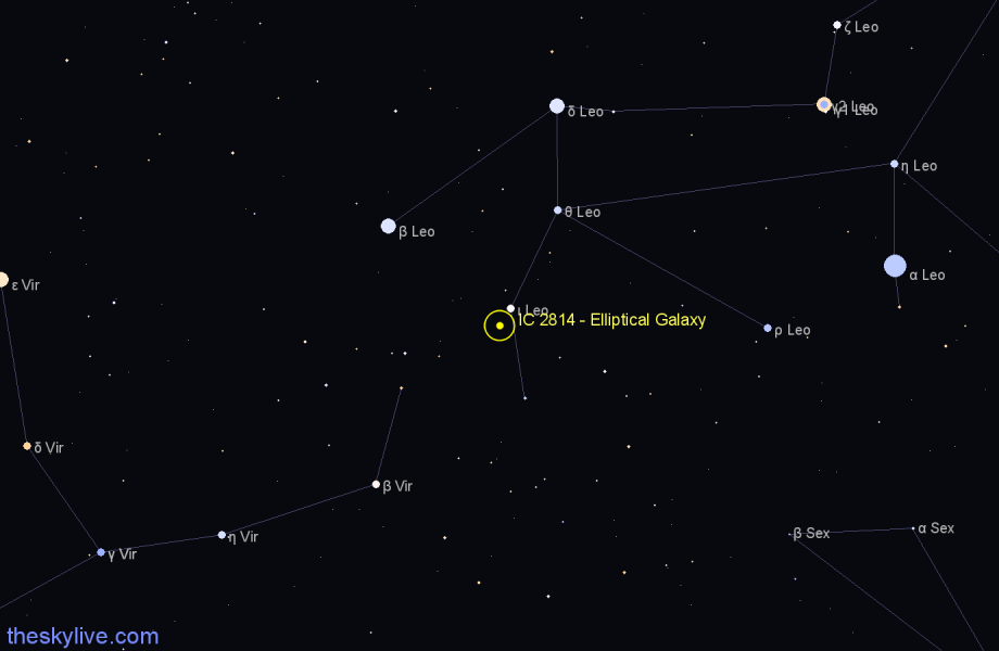 Finder chart IC 2814 - Elliptical Galaxy in Leo star