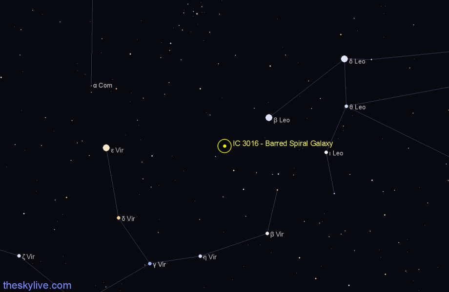 Finder chart IC 3016 - Barred Spiral Galaxy star