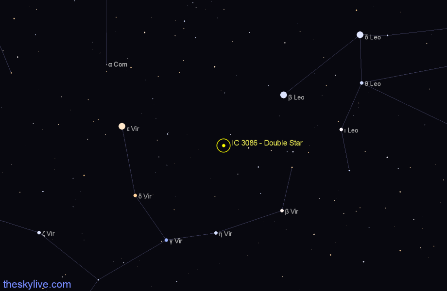 Finder chart IC 3086 - Double Star star