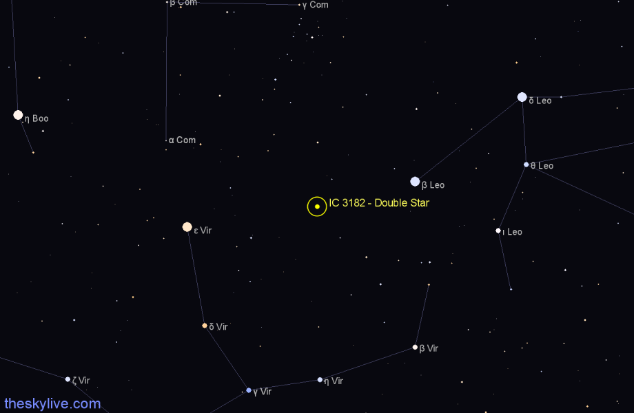 Finder chart IC 3182 - Double Star star