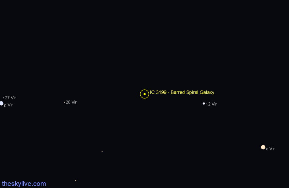 Finder chart IC 3199 - Barred Spiral Galaxy star