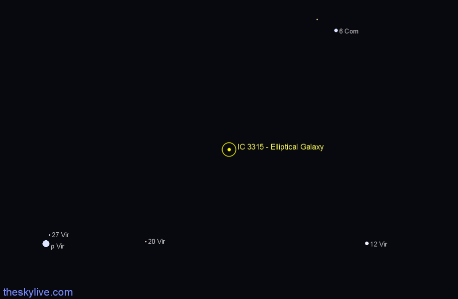 Finder chart IC 3315 - Elliptical Galaxy star