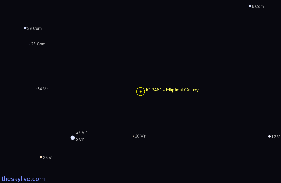 Finder chart IC 3461 - Elliptical Galaxy star
