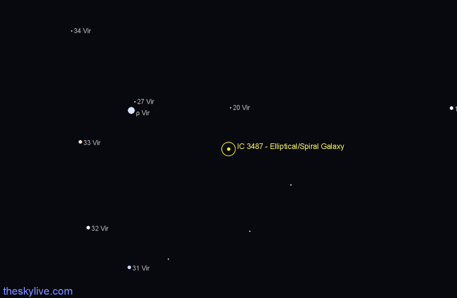 Finder chart IC 3487 - Elliptical/Spiral Galaxy star