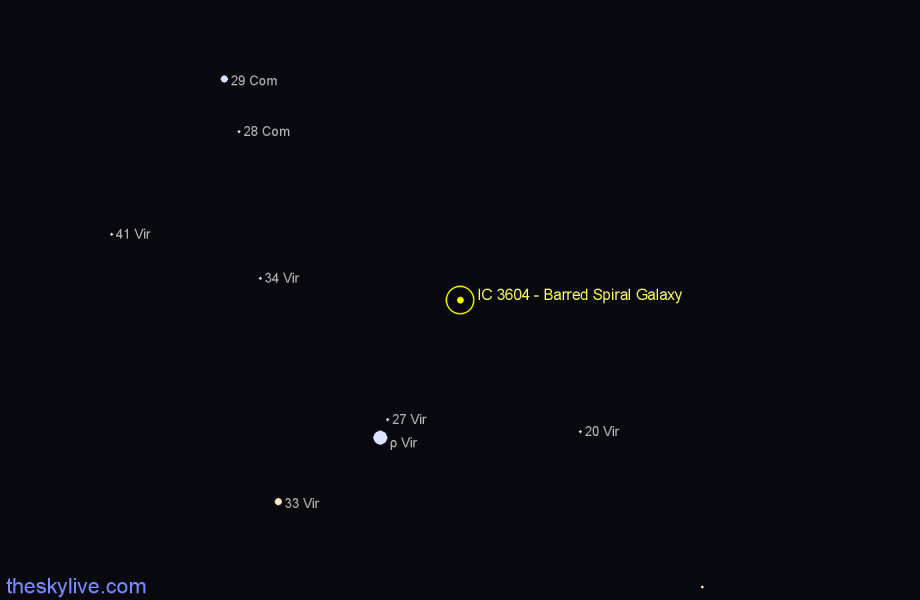 Finder chart IC 3604 - Barred Spiral Galaxy star