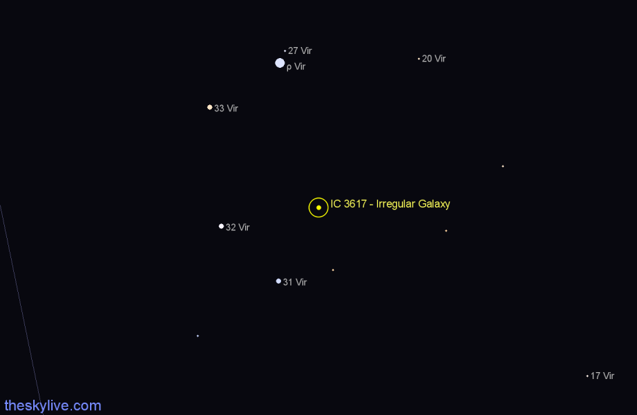 Finder chart IC 3617 - Irregular Galaxy star