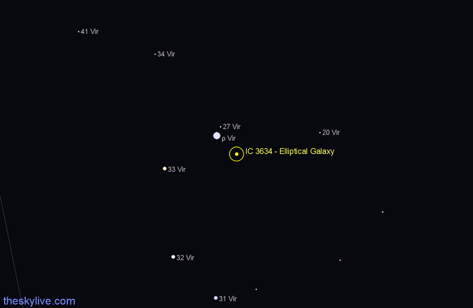 Finder chart IC 3634 - Elliptical Galaxy star