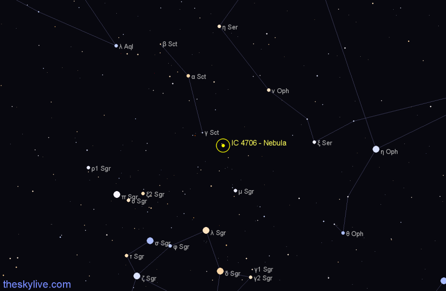 Finder chart IC 4706 - Nebula star