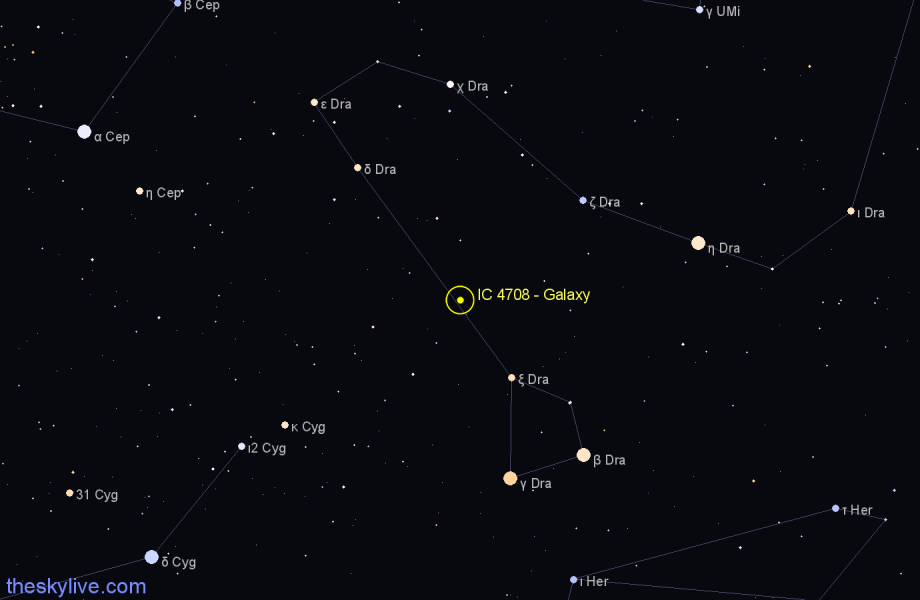 Finder chart IC 4708 - Galaxy in Draco star
