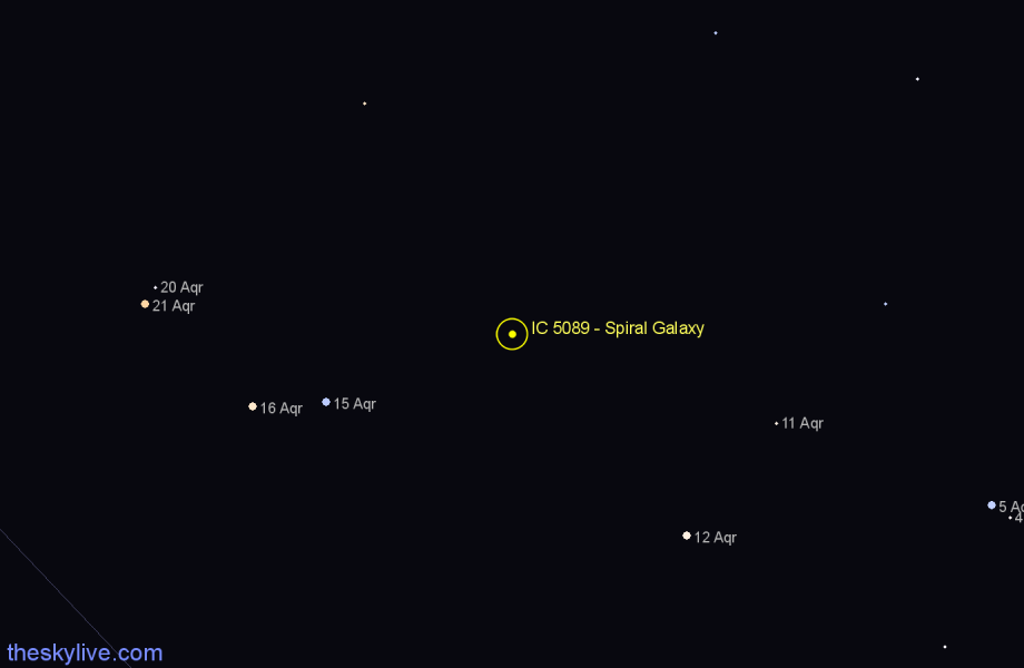 Finder chart IC 5089 - Spiral Galaxy in Aquarius star