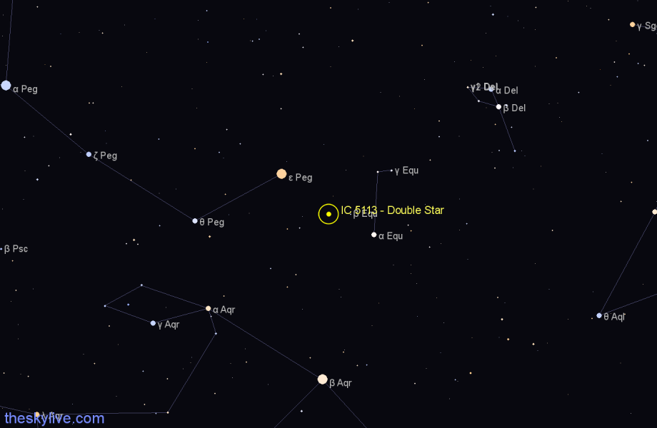 Finder chart IC 5113 - Double Star in Pegasus star