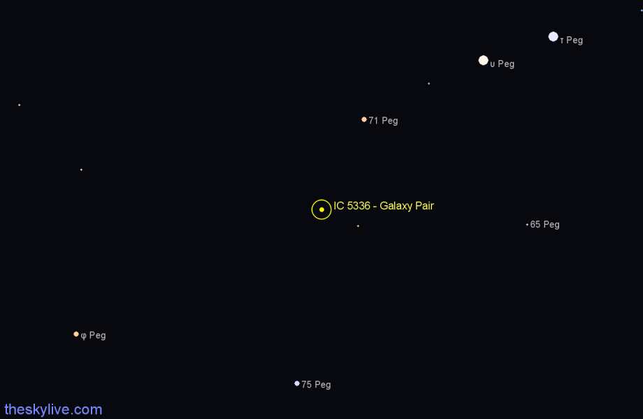 Finder chart IC 5336 - Galaxy Pair in Pegasus star