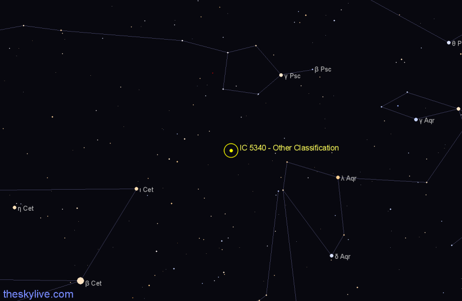 Finder chart IC 5340 - Other Classification in Aquarius star