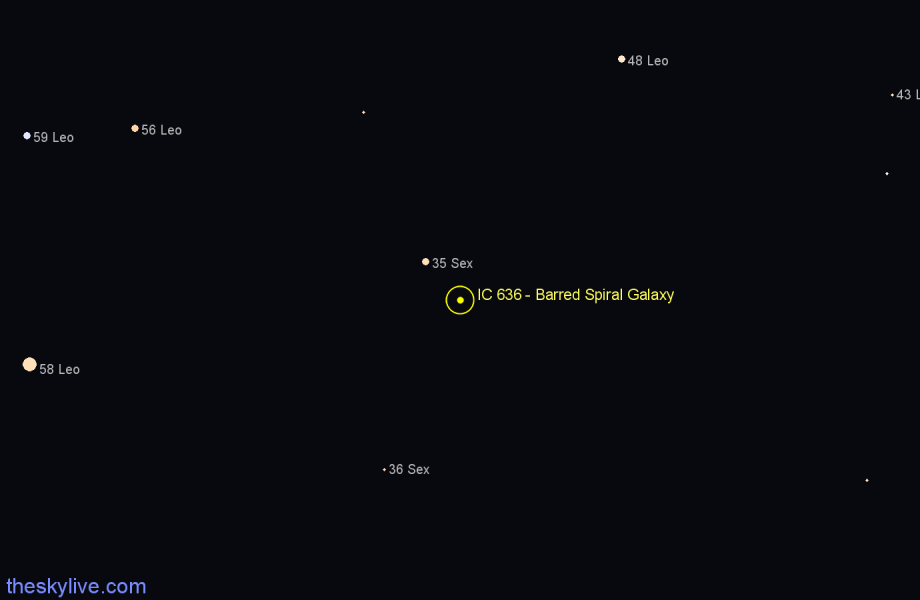 Finder chart IC 636 - Barred Spiral Galaxy star