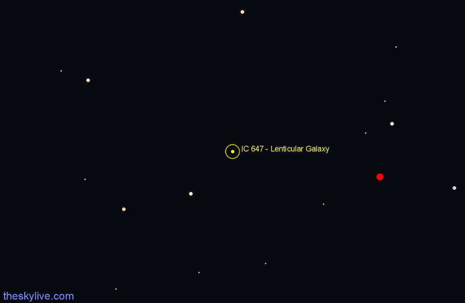 Finder chart IC 647 - Lenticular Galaxy star