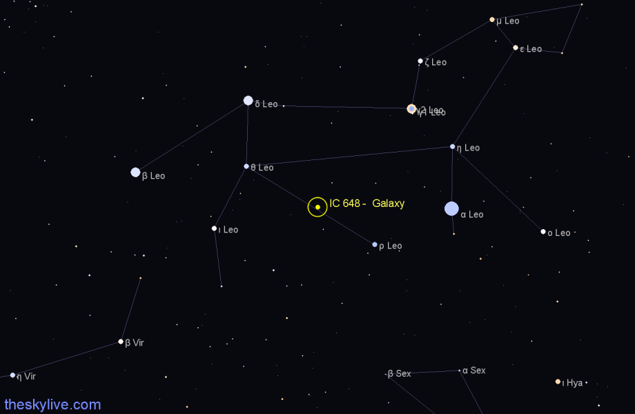Finder chart IC 648 -  Galaxy in Leo star