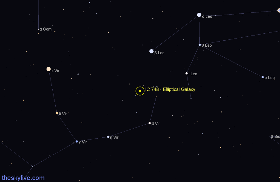 Finder chart IC 748 - Elliptical Galaxy star