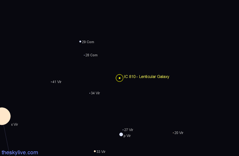 Finder chart IC 810 - Lenticular Galaxy star