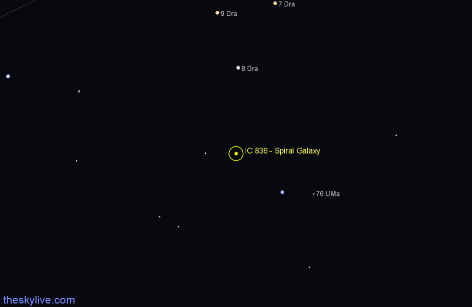 Finder chart IC 836 - Spiral Galaxy star