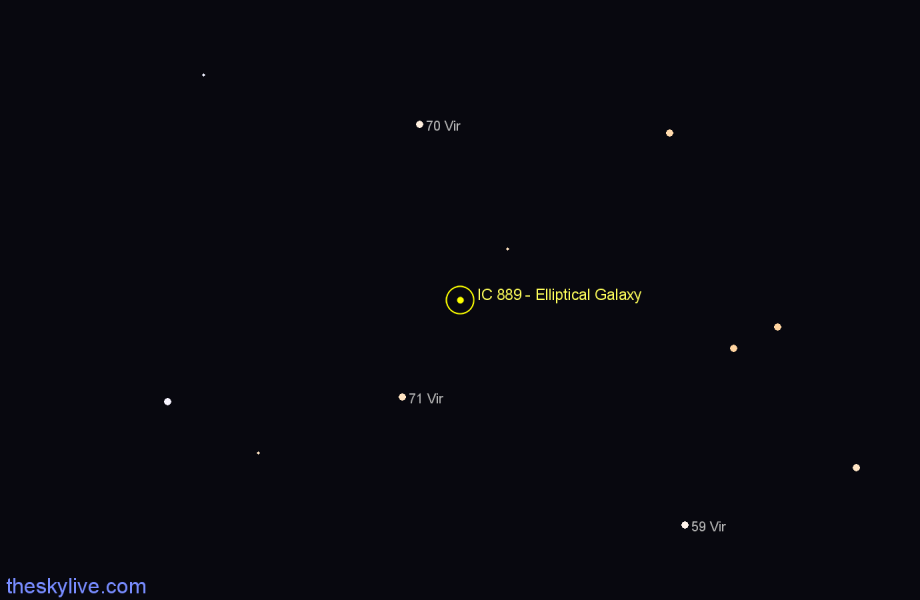 Finder chart IC 889 - Elliptical Galaxy star