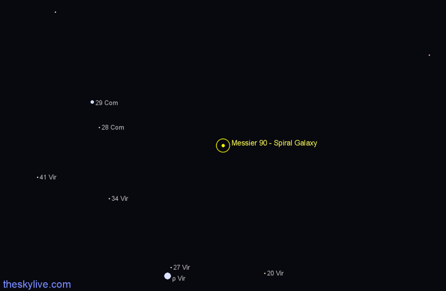 Finder chart Messier 90 - Spiral Galaxy star