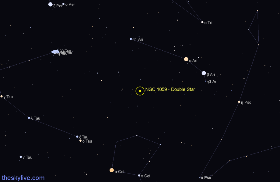 Finder chart NGC 1059 - Double Star in Aries star