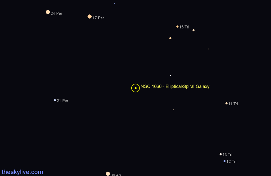 Finder chart NGC 1060 - Elliptical/Spiral Galaxy in Triangulum star