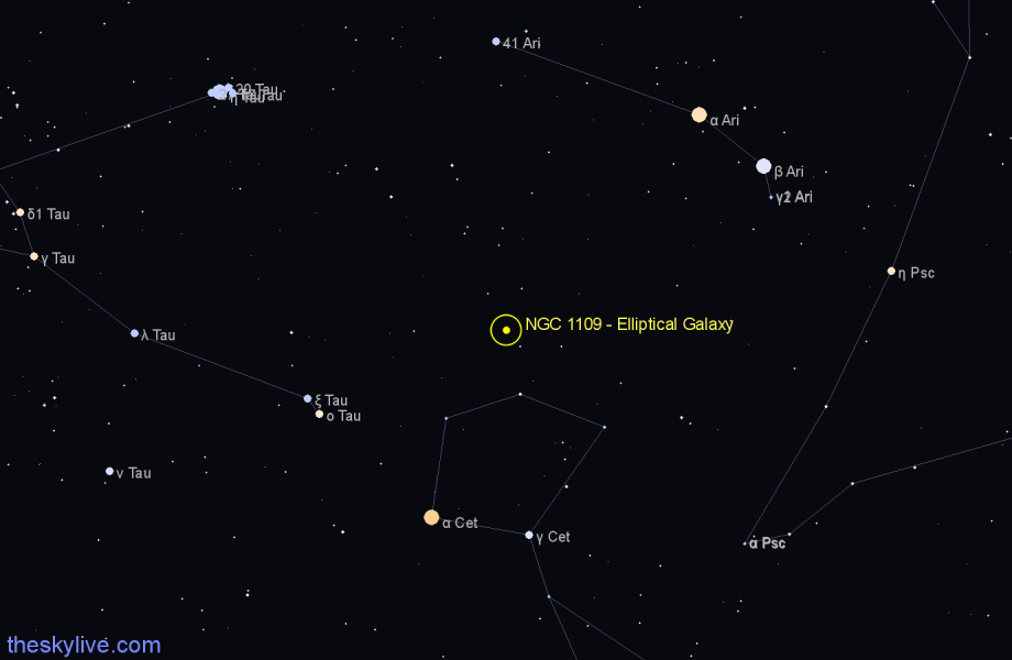 Finder chart NGC 1109 - Elliptical Galaxy star