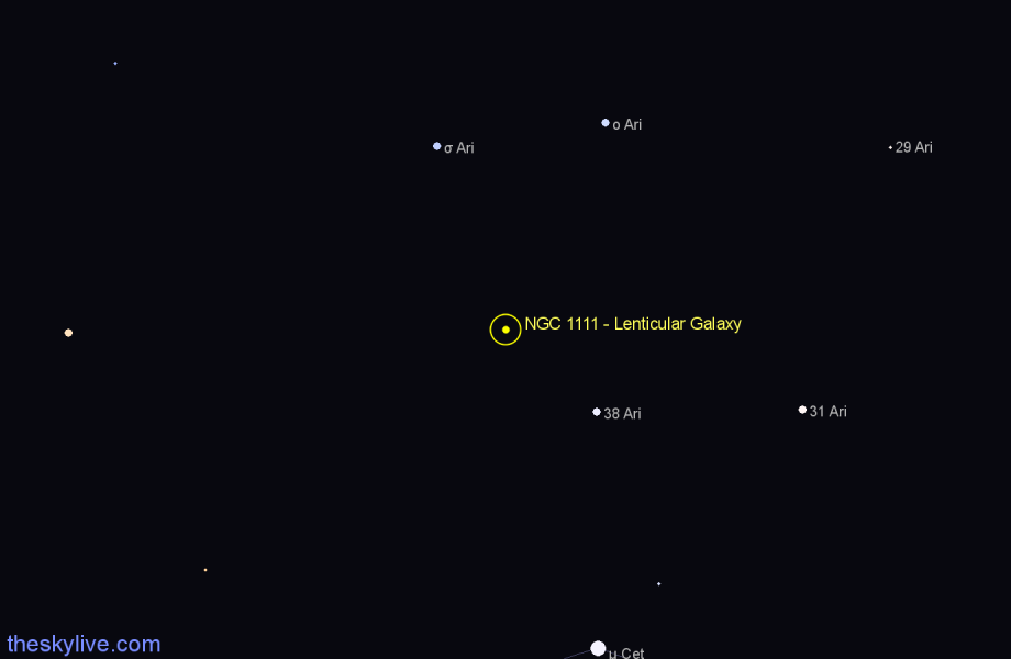 Finder chart NGC 1111 - Lenticular Galaxy star