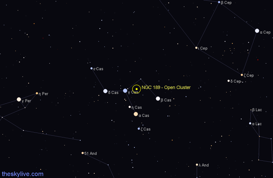 Finder chart NGC 189 - Open Cluster in Cassiopeia star