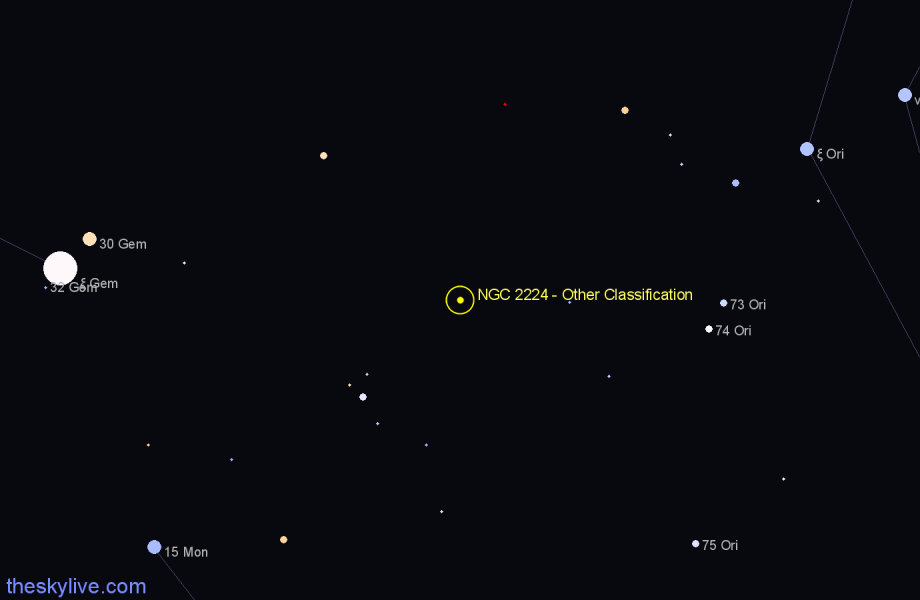 Finder chart NGC 2224 - Other Classification in Gemini star