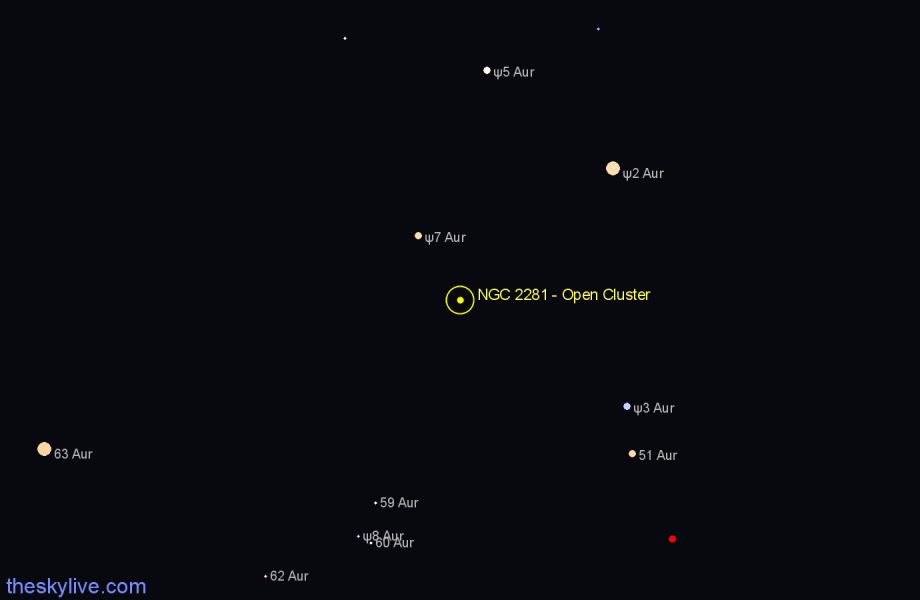 Finder chart NGC 2281 - Open Cluster star