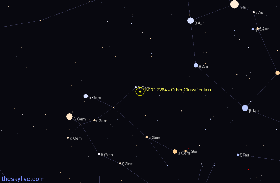Finder chart NGC 2284 - Other Classification in Gemini star