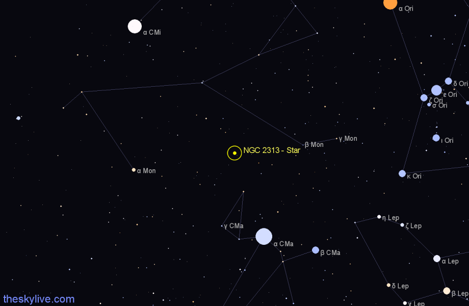 Finder chart NGC 2313 - Star in Monoceros star