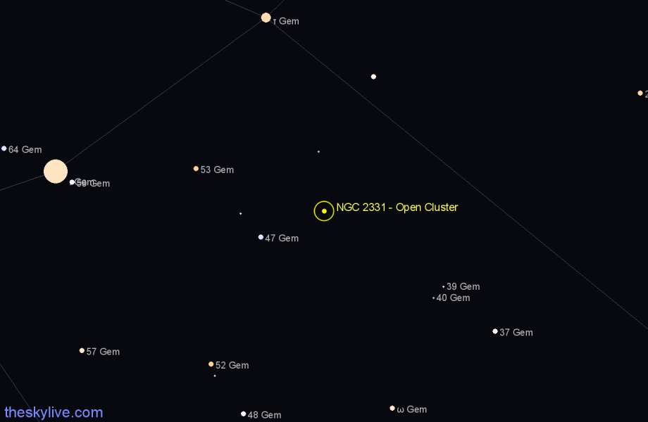 Finder chart NGC 2331 - Open Cluster star