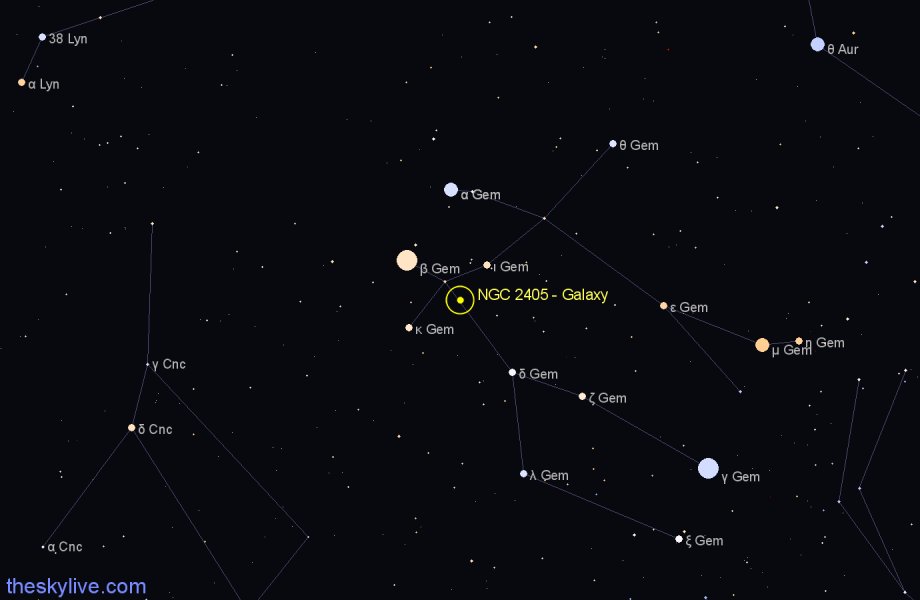 Finder chart NGC 2405 - Galaxy in Gemini star