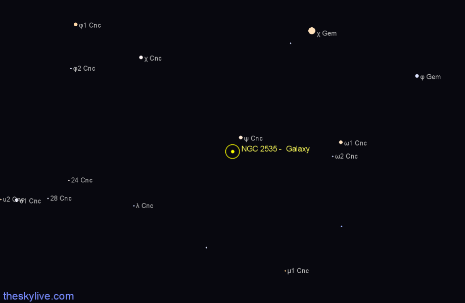 Finder chart NGC 2535 -  Galaxy star