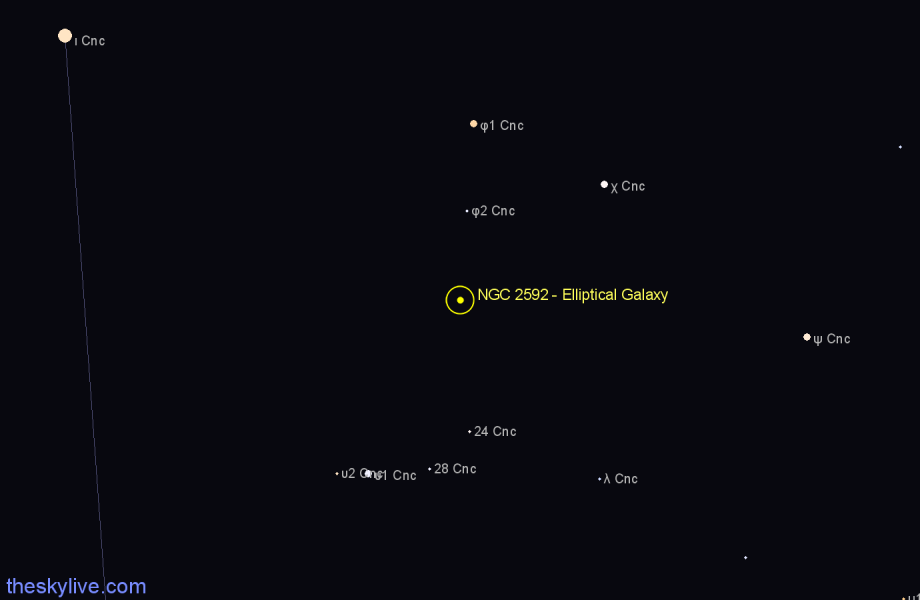Finder chart NGC 2592 - Elliptical Galaxy in Cancer star